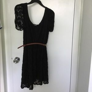 Deb Black Lace Cap Sleeve Dress